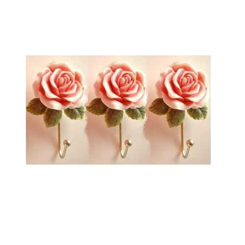 Three Rose Flower Wall Hanging Hook
